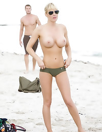 Big tits blonde beach goddess