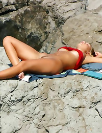 Nude hot blonde at beach