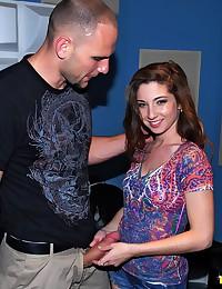 Slender Brunette with Pierced Belly Button