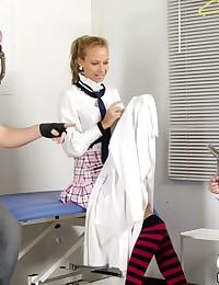 Bad medical girls flirting with a shy guy