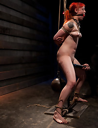 She is put into predicament bondage and trained to properly ride a cock and and push herself to please no matter what pain she is suffering from.