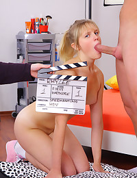 A teen gets anal sex in a production studio