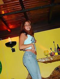 Drunk party girls flash skin