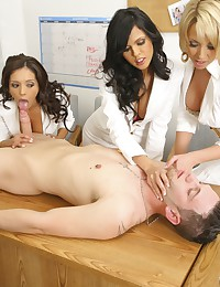 Three doctors treat his hard cock