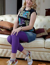 Shy blonde teen cutie reveali...