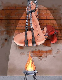 Cartoon bondage with burning ...