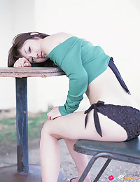 Perfect body on Japanese girl outdoors