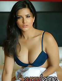 Big tits in the blue bra seek release and are freed by pornstar Sunny Leone