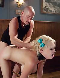 Fucking blonde bondage girl