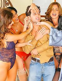Ladies in lingerie share him