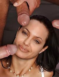 Jizz-drenched Angelina Jolie