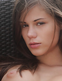 Caprice strips outdoors and has a little fun for us.