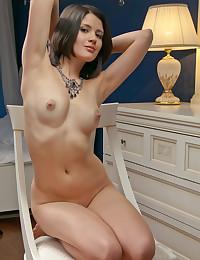 Luiza A strips in the bedroom for Met Models.
