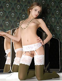 Gorgeous hot blonde teen in vintage lingerie.