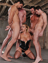 Horny Blonde Shyla Gets Ganged On