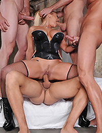 Horny Blonde Shyla Gets Ganged On