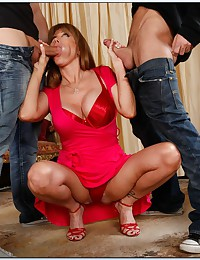 Two young guys and redhead
