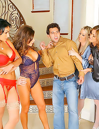 Four lingerie ladies love his...