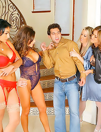 Four lingerie ladies love his...