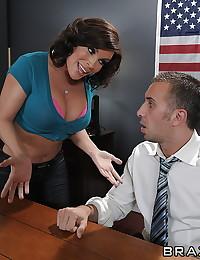 Busty slut office tease