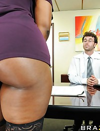 When adult superstar Nyomi Banxxx walked into James' office in order to insure her ass, she was hoping to fill our a few forms and be on her way. Instead, she was forced to literally bend over backwards to get the coverage that she needed. This just goe