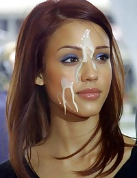 Naughty Jessica Alba loves to fuck and always gets some sperm on her face!