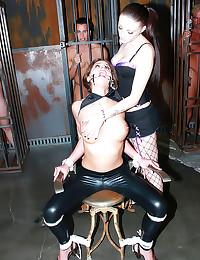 Bound girl used as jizz slut