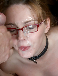 Innocent redhead with glasses is stripped naked in a public bookstore, fucked, and covered in cum