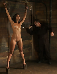 Nipple pain for bondage girl