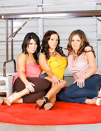 Three clothed brunettes blow ...