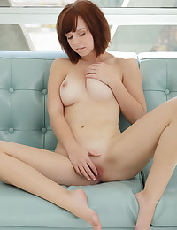 Hottie masturbates with huge glass dildo.