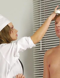Too bossy nurses examine a nude man
