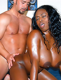 Oiled up black chick fuck