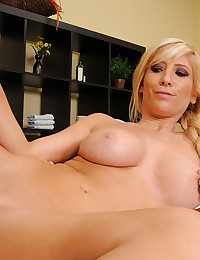Shaved pussy takes big cock