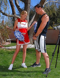 Cheerleader porn in backyard