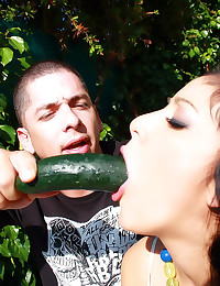 Deepthroating veggie and dick