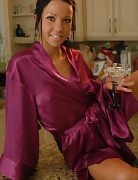 Chick in satin robe drinks