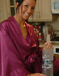 Chick in satin robe drinks