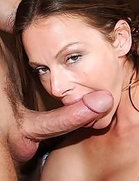 Horny Brunette Milf Rides Huge Cock