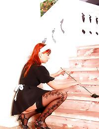 Redheaded French maid fucked ...