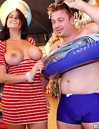Pornstar tits in beach store