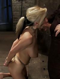 Rope bondage girl does oral