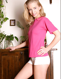 Ashley Lightspeed - Barely legal blonde honey teasing in pink outfit