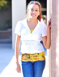 Jeans girl strips in public