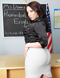 Hot teacher in satin blouse