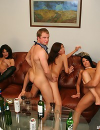Horny scenes of group fuck made at student sex party