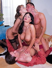 Big cock foursome with sluts
