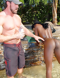 Sex with oiled up ebony girl