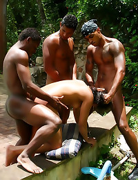 Gangbanged Brazilian chick outdoors