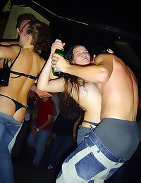 Drunk party girls get naked